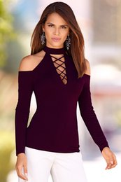 Wholesale Turtle Shirts Wholesalers - Wholesale- 2017 New Spring Basic Women Long Sleeve Turtle Collar Sexy Slim Lace Up Tees T Shirt Tops Female Plus Size S M L XL T-shirt