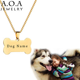 Wholesale Gold Name Plates - Hot Sale Blank Bone Pendant Necklace Stainless Steel Engrave Pet Name Necklace For House Pet ID Necklace