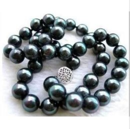 Wholesale Gold Plated 18 Inch Chains - VERL BEAUTIFUL AAA+ TAHITIAN 9-10MM BLACK NATURAL PEARL NECKLACE 18 INCH