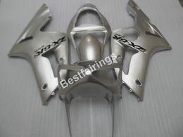 Wholesale Cheap Motorcycle Fairings Kits - Cheap injection mold plastic fairings for Kawasaki Ninja ZX6R 03 04 silver motorcycle fairing kit ZX6R 2003 2004 UY29