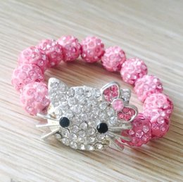 Wholesale Wholesale Kitty Ring - Wholesale Crystal Rhinestone Candy Color Beads Bracelet Pink Kitty Cat Girls Beaded Bracelet Jewelry Accessories Gifts for Kids