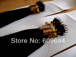 "Wholesale Nano Ring Hair Extensions Indian - Wholesale- 18"" 20"" 22"" 100S 1# black NANO RINGS hair extensions 100% Indian Remy Human remy Hair + 100beads FAST SHIPPING"