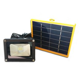 Wholesale Wiring Spotlights - Wholesale- Outdoor 10W Solar Floodlight Waterproof Led Spotlight with 5M wire+2200mA Battery for LED Outdoor Garden Lamp