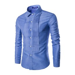 Wholesale Royal Blue Shirts Cotton - Wholesale- 2017 Fashion cotton striped royal freckling wind pleated long-sleeve men shirt solid color blue white men clothes
