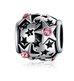 Wholesale European Bracelet Box - Fits Pandora Charm Bracelet Pink Crystal Stars Baby's breath Gift Box Silver Plated Loose Charms For Diy European Style Snake Charm Chain