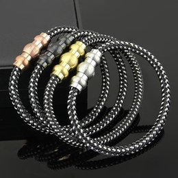 Wholesale Leather Bracelets Magnetic Clasps - New Fashion Wholesale MONT Men's Rope Leather Bracelet Stainless Steel Magnetic Black Buckle Charm Style Bracelets Bangles Men