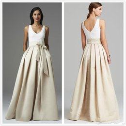 Wholesale Satin Dress Sashes - 2017 South African Satin A Line Long Bridesmaid Dresses V Neck Sash Ruffle Arabic Floor Length Backless Long Formal Party Evening Dresses