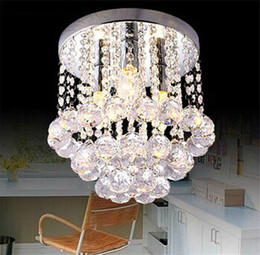 Wholesale Small Led Ceiling Light Fixtures - 15 20 25cm Crystal Chandelier Light Mini Ceiling Lamp Fixture Small Clear Crystal Lustre Lamp for Aisle Stair Hallway Corridor Porch Light