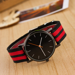 Wholesale Wholesale Striped Leather Watches - Luxury brand mens watches Black dial canvas nylon watch Casual striped strap wristwatches Fashion quartz women men watches