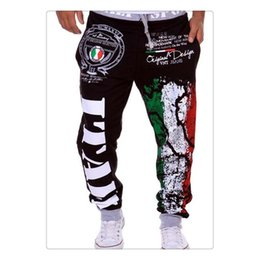 Wholesale Sport Cargo Pants For Men - Cargo Pants for Men Spring&summer Fashion Flag Printing Design Elastic Waist Men's Sports Bodybuilding Loose Pants US Size:XS-L