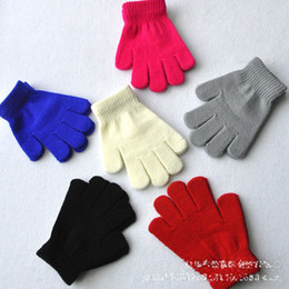 Wholesale Child One Size - 6 Color kids gloves knitting warm glove children boys Girls Mittens Unisex cartoon Solid color Separate finger Gloves B