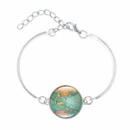 Wholesale Vintage Art Glass Bracelet - Wholesale- Vintage Globe Map Bracelets & Bangles World Map Art Glass Cabochon fashion Jewelry Silver Charm Bracelet for Women