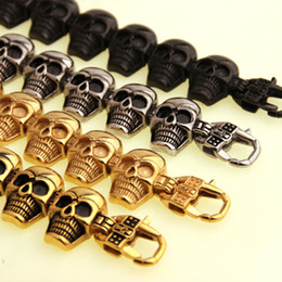 Wholesale 18k Solid Gold Clasp - Hip hop Stainless Steel Men's Skeleton Skull Head bracelets Big Huge Heavy Solid Ghost bangle motorcycle Biker Punk Jewerly