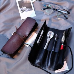 Wholesale American Pencil Cases - 2017 new hot sale Genuine Leather Toolkit Tool Bag Coil Jig Tool Coiling Stick Men hand-made pencil case Personality design