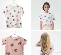 Wholesale Wholesale T Shirt Football - 2 color 2017 BOBO ins hot selling Europe and America style cute football printting 100% cotton boys girls T-shirt free shipping
