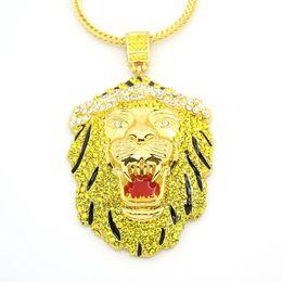 Wholesale Lion Head Silver Pendants - Hip Hop Silver Gold Iced Out Lion Head Pendants Necklaces Rhinestone Kolye Collane Hiphop Colar Masculina Pingente Masculino Men