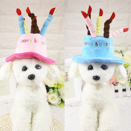 Wholesale Cute Party Cakes - Dog Puppy Birthday Party Cap Hat Fleece Dogs Pet Hats Caps With Cake Canddles Design Cute Pet Supplies Pink Blue