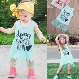 Los vestidos del tutú infantil del bebé vestido recién nacido del niño franja del vestido del verano de los niños de la borla del chaleco del traje del onesie maxi embroman la ropa del boutique el envío libre desde fabricantes