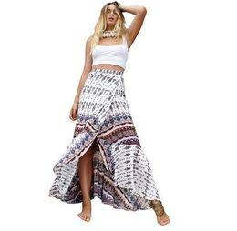 Wholesale Cotton Loose Skirts - Vintage Boho Print Split Long Skirt Summer 2017 Soft Cotton High Waist Mermaid Skirt Women Beach Loose Wrap Maxi Skirt Bohemian Beach Wear