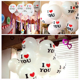 Wholesale Latex Balloons Letters - 12 Inch Latex Balloon I LOVE YOU Balloons Christmas Party Wedding Decorations European Wedding Parties Wedding Supplies