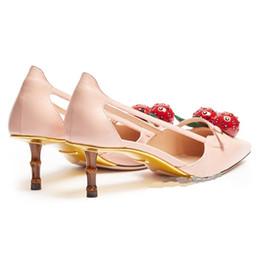 Wholesale Heart Beading - Free shiping 2017 new cherry strawberry hearts valentine novelty bamboo heel sling backs sandals
