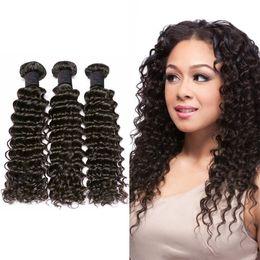 free sheds 2018 - Human Deep Wave Curly Brazilian Peruvian Malaysian Indian Virgin Hair 3pcs Extensions Natural Black No Tangle Shedding Free