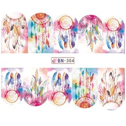 Wholesale Water Decal Sale - Wholesale- 1 Sheets Hot Sale Dream Catcher Water Nail Art Sticker Colorful Tip Full Decals Nail Decorations Polish Gel Designs BN304