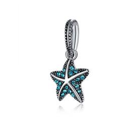 European beads starfish en Ligne-Convient Bracelet Pandora Vert Cristal Bord De Mer Étoile De Mer Balancent Des Perles En Argent Charmes Lâches Pour Diy Européen Collier Serpent Bracelet