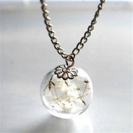 Wholesale wholesale glass seed bead - 8pcs Dandelion Necklace Make Dandelion Seeds A Glass Bead Orb Silver Necklace Botanical Globe Beadwork