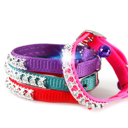 Wholesale Crystal Puppy Collars Free Shipping - Free shipping pet cat dog puppy collar nylon sparkling rhinestones Bling crystal Cat Collar with Bell wa2853