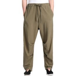 Wholesale Men S Satin Pants - Wholesale- New Arrival Green Chinese Men's Kung Fu Trousers Cotton Linen Pants Clothing Size S M L XL XXL XXXL 2607