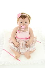 Wholesale Vinyl 24 - Newborn Bath Girl 23 Inch Handmade Full Body Soft Silicone Reborn Baby Girl Doll Toy Gift