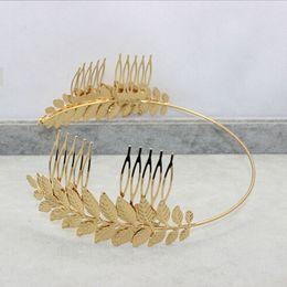 Wholesale Wedding Comb Hair Chains - Promotion Women Baroque Crown Golden Tone Metal Leaf Hair Cuff Chain Comb Headband Symmetry Hair Band Headdress Wedding Hair Accessories