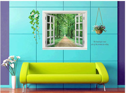 livre miúdos desenhos animados wallpapers arte Desconto 60 * 90 cm Criativo 3 d janela falsa arborizada trilha parede vara corredor da sala de estar o quarto adorno moda PVC adesivos
