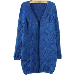Wholesale Wholesale Korean Plus Size - Wholesale-Sweaters 2016 Women fashion Korean style autumn winter new arrive plus size loose solid computer knitted cardigan sweater 7241