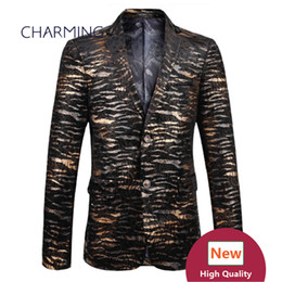 Wholesale Tiger Stripes Pattern - suit jacket (Tops) 3D printing tiger leather pattern high quality velvet fabric Groom dress men suits