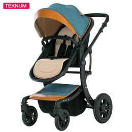 Wholesale Luxury Prams - Safe Luxury Baby Stroller Folding Comfortable Prams Solid Breathable Kids Trolley Rotation Portable Carriage Infant Paseante