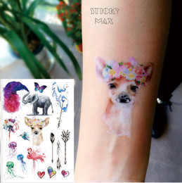 Wholesale Beautiful Back Tattoos - W18 Crown Deer, Watercolor Elephant ,Jellyfish , Flamingo and Dandelion Beautiful Non-toxic Temporary Tattoo