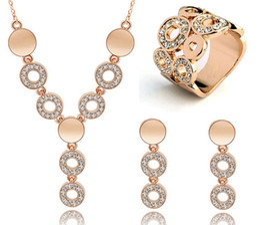 Wholesale long cheap earrings - Cheap Wedding Jewelry Sets Circle Design Long Pendant Necklace Choker Finger Ring Austrian Crystal Dangle Earrings Set for Women