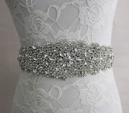 Wholesale Tie Back Sash - 2017 Real Image Wedding Dresses Sash Bridal Belts Rhinestone Crystal Ribbon Tie Back Bridal Accessories Princess Handmade Fashion