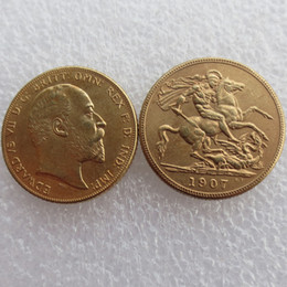 Wholesale Gold Living Rooms - RARE 1907 KING EDWARD VII MATT PROOF GOLD DOUBLE SOVEREIGN Free shipping