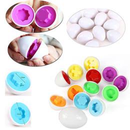 Wholesale Egg Shape Puzzle - 6Pcs Shape Easter Egg Puzzle Set Pretend Toy Kitchen Educational Toy Learn Colour Shape New Brand