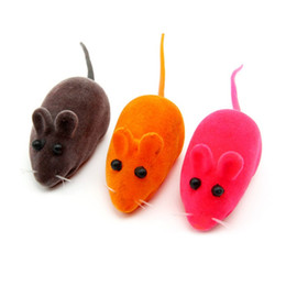 Wholesale Pc Ball Mouse - 2 pcs Colorful Practical Pile Coating Soft Rubber Cat Toy Mouse Pattern Phonate Sound Toys Pet Toy for Teeth