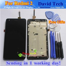 Wholesale Xiaomi 2a Free Shipping - Wholesale- High Quality LCD Display+Digitizer Touch Screen Assembly For Xiaomi Redmi 2A Redmi2 Hongmi 2 Cellphone With Frame Free Shipping