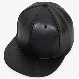 Wholesale hiphop leather - Adjustable DIY Blank PU Hats pure color plate PU hip hop hiphop flat along the leather baseball cap men and women hat