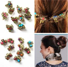 Horquillas de mariposa vintage online-Nueva Retro Vintage mariposa / pavo real / forma de corazón Rhineston horquillas / pelo garra pinzas para el cabello accesorios para el cabello
