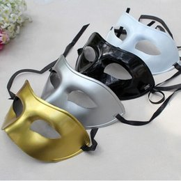 Wholesale White Plastic Face Mask - Men's Masquerade Mask Fancy Dress Venetian Party Masks Masquerade Masks Plastic Half Face Mask 4 Color