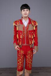 Wholesale dance costume tuxedo - Wholesale- (Jacket+Pants+Vest) Men's Classic Royal Court Red Suit Stage Wear Show Suits Spain Bullfight Dance Costume Gold Tuxedo Jacket
