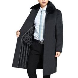 Wholesale Mens Rabbit Coats - Wholesale- Mens Wool Coat Men Brand-Clothing Natural Rabbit Fur Collar Thick Woolen Overcoat Men New Long Mens Jackets And Coats WUJ1148