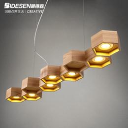 Fast Shipping Led Modern Home Wooden Honeycomb Pendant Light Living Room Decoration Lamp Diner Cafe Light Ac90 265v Wholesale